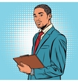 Black businessman with documents vector image vector image