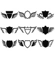 black shield wings icon vector image vector image
