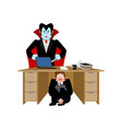 businessman scared under table of dracula vampire vector image vector image