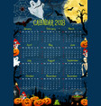 calendar with halloween holiday pumpkin and ghost vector image