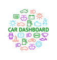 car dashboard signs thin line round design vector image vector image