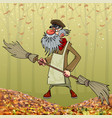 cartoon bearded janitor with double sided broom in vector image vector image