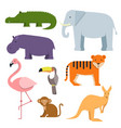 cartoon clipart of wild animals australian fauna vector image vector image