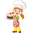 Cartoon little girl holding cake vector image vector image