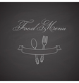 Chalkboard label with fork spoon and ribbon vector image vector image