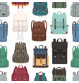 colored seamless pattern with trendy backpacks or vector image