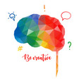 colorful human brain in low poly style creative vector image vector image