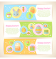 Colorful spring Easter flat banners set vector image