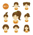 cute brunet little girls with various hair style vector image