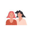 cute lesbian couple portrait of adorable young vector image vector image