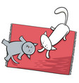 cute playing cats cartoon vector image