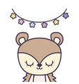 cute porcupine animal with garlands hanging vector image vector image