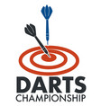 darts championship banner with arrows and target vector image