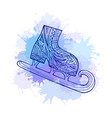 doodle winter skates with boho pattern and blue vector image