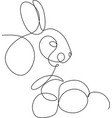 easter bunny continuous one line drawing vector image