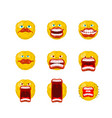 emoticon set open mouth and teeth crazy emoji vector image