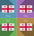 Flags Georgia Set of colors flat design and long vector image vector image