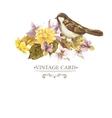 Floral Retro Card with Bird Sparrows vector image vector image