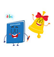 funny smiling bell and notebook characters back vector image vector image