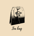 hand drawn tea bag isolated retro vector image