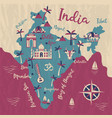 india map flat elephant cow vector image