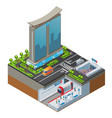 isometric colorful cityscape concept vector image vector image