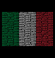 italy flag pattern of 2019 year text icons vector image