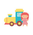 kids toy rubber train and pink little doll toys vector image vector image