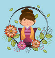 little japanese girl kawaii with flowers character vector image