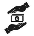 money in hand protect icon on white background vector image vector image