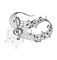 music notes on staff poster vector image vector image