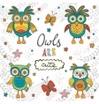 Owls are cute Colorful card with owls characters vector image