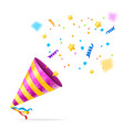 party hat and confetti background card vector image