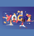 pregnant women character training sport activity vector image