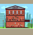 public library concept with different students vector image