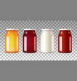 realistic glass bottles with screw caps vector image vector image