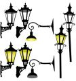 retro street lamp and lantern vector image vector image