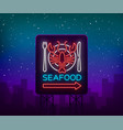 seafood neon logo icon vector image