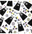 seamless pattern with funny llamas and hand drawn vector image