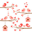 set cute birds in love on blooming branches vector image