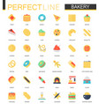 set flat bakery food icons vector image