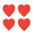 set of four grunge red hearts on white background vector image vector image