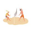smiling man and woman playing volleyball on beach vector image