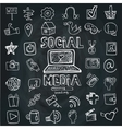Social Media Word and Icon setDoodle sketchy vector image
