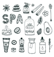 Spa hand dawn collection Beauty icon set vector image vector image