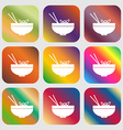 Spaghetti icon sign Nine buttons with bright vector image vector image