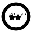 star sunglass icon in round black color vector image vector image