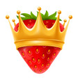 strawberry in golden crown vector image vector image