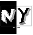 typography slogan black-white with new york vector image