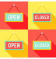 Yellow Red Cyan Open and Closed Signs Set vector image